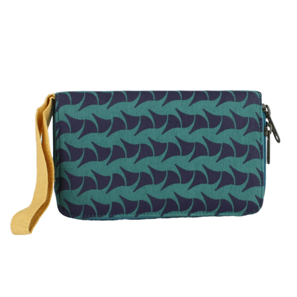 fair trade cotton zippered travel wallet with wristlet many card slots navy and teal