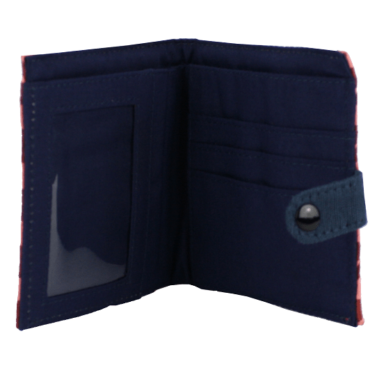 fair trade cotton square wallet with snap close brick and pink with navy interior