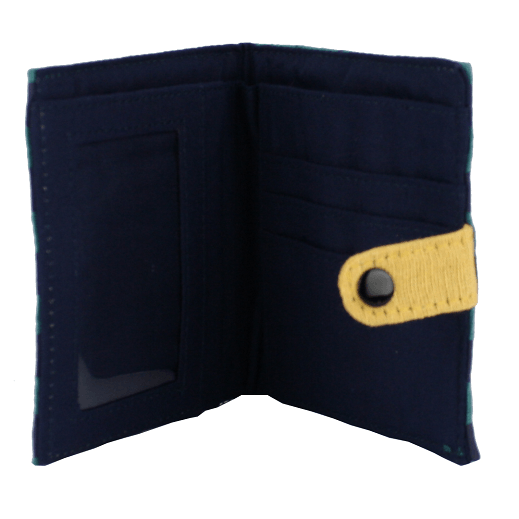 fair trade cotton square wallet with snap close navy and teal ray interior