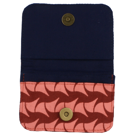 fair trade cotton card holder wallet brick red and pink ray navy interior
