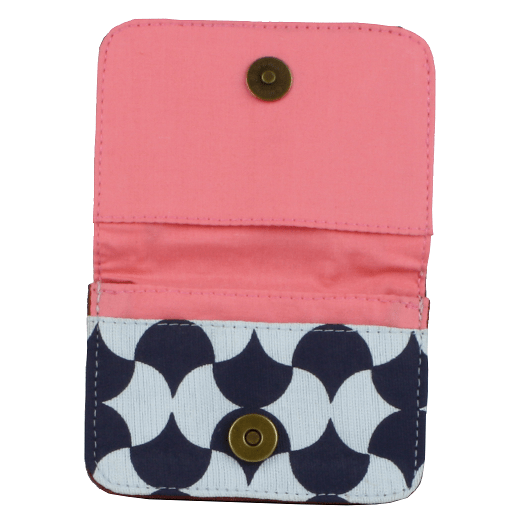 fair trade cotton card holder wallet blue and icy blue pink interior