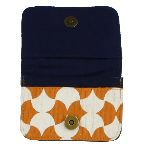fair trade cotton card holder wallet orange and white navy interior