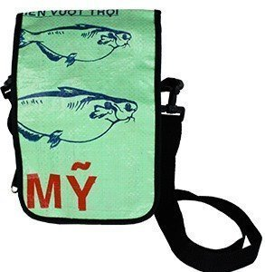 recycled light green messenger bag