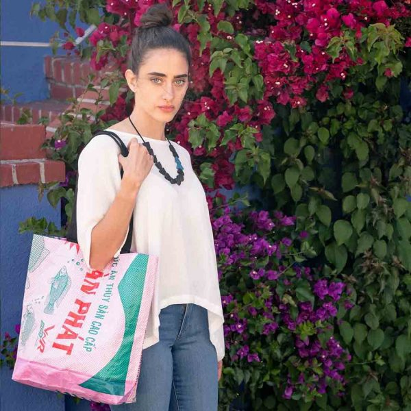 pink recycled tote