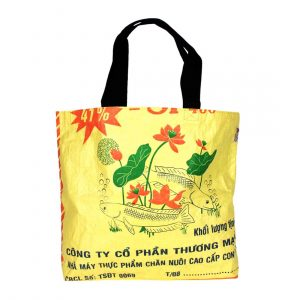 yellow recycled plastic shopping bag