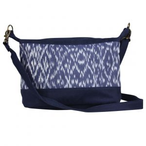 navy ikat handbag