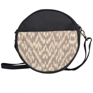 brown round ikat purse