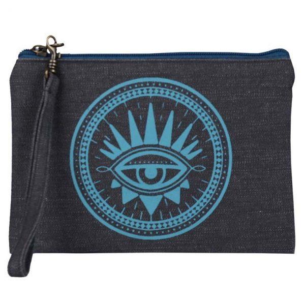 blue evil eye wristlet pouch