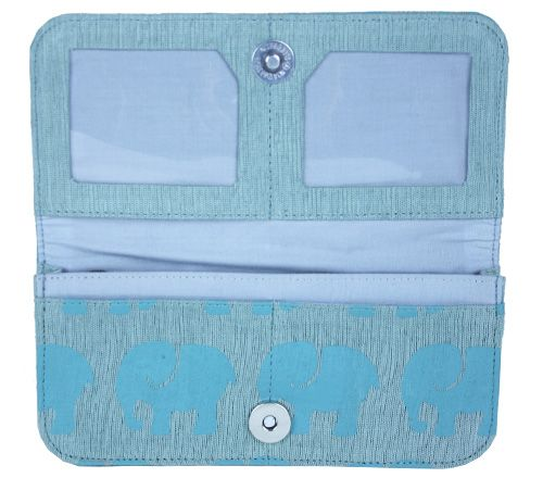 Interior of grey cotton wallet with aqua elephants