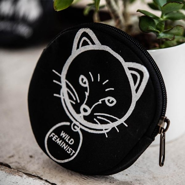 wild feminist cat coin purse