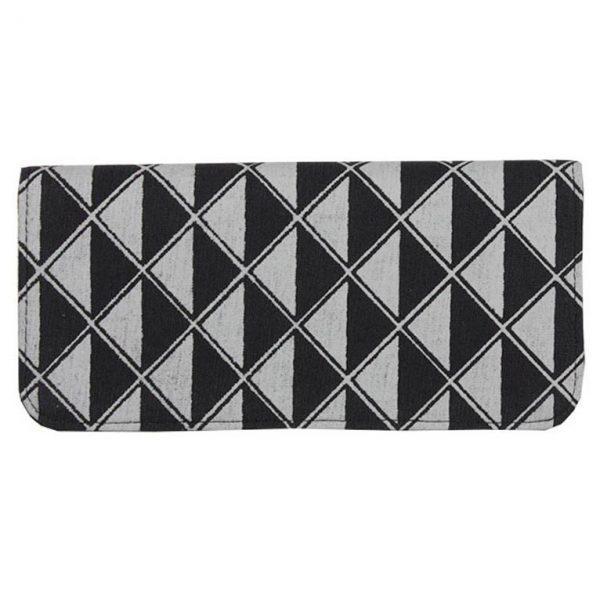 black and grey cotton canvas wallet
