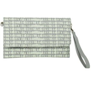 grey raindrop print clutch