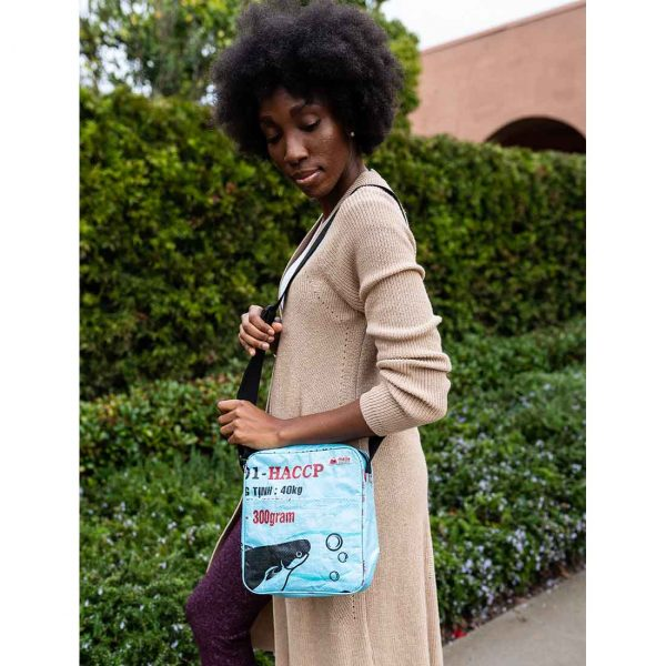 Recycled Small blue Crossbody