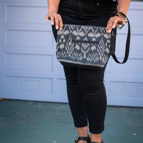 black ikat handbag