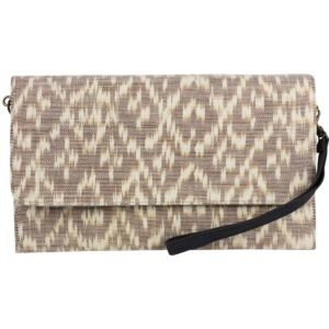 brown ikat clutch