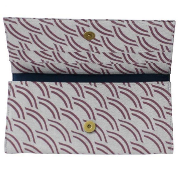 Cotton Long Wallet Upcycled Canvas plum crescent