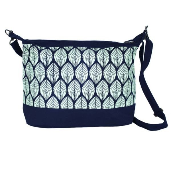navy leaf print purse