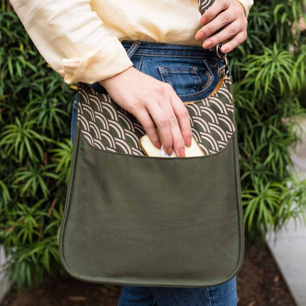 close up sage handbag