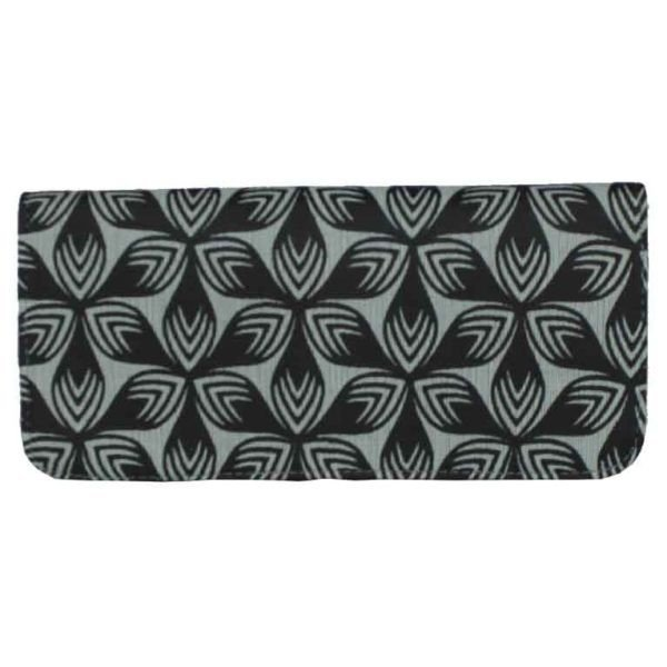 grey floral long vegan wallet