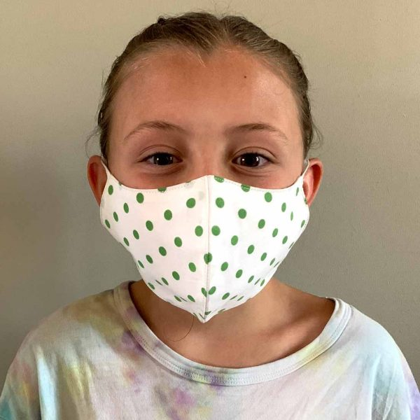 girl in childs face mask