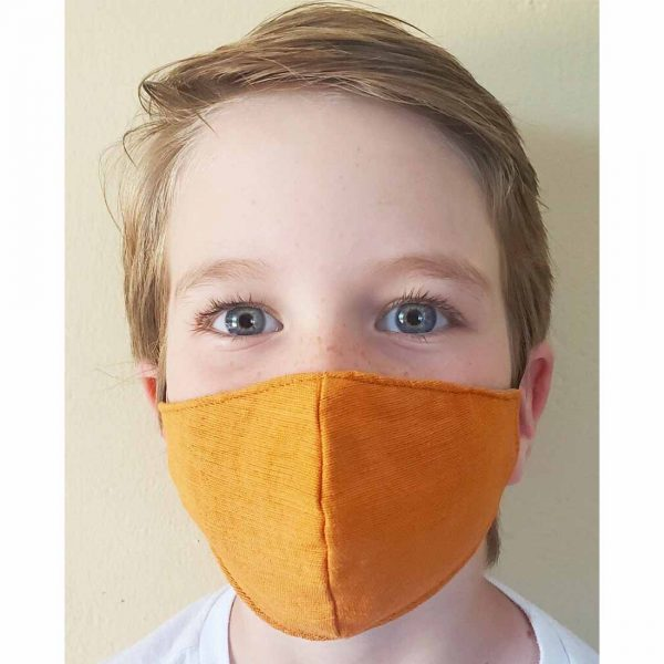 small boy in face mask