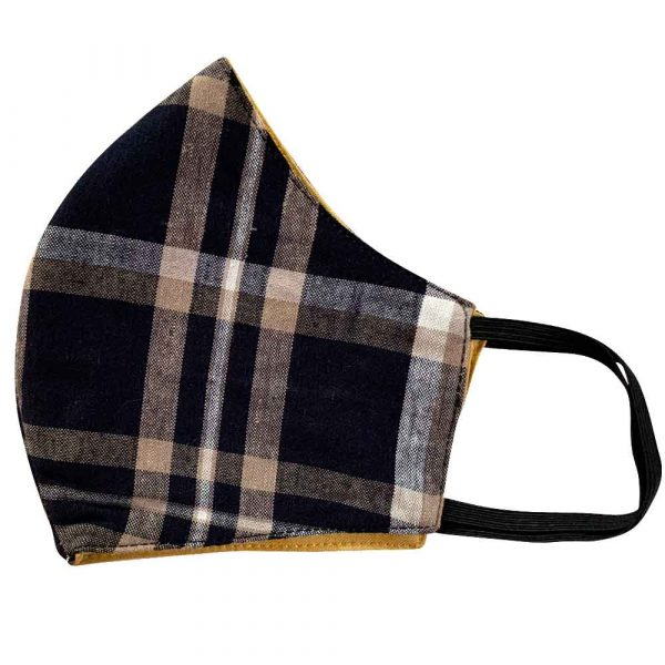 navy plaid cotton face mask
