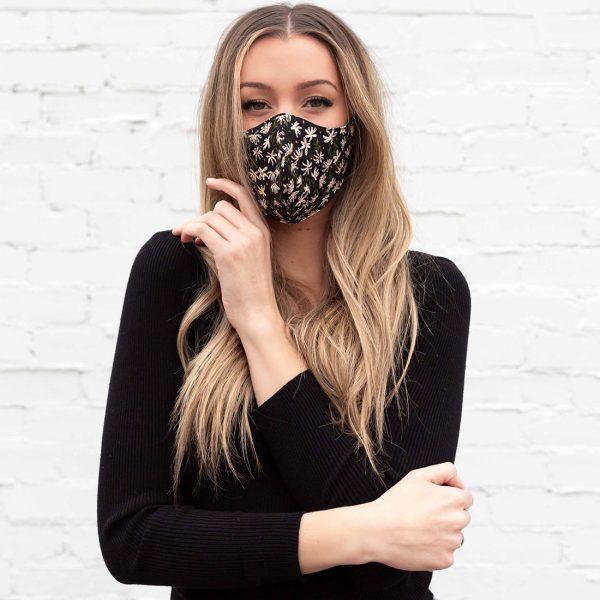 blonde girl black face mask