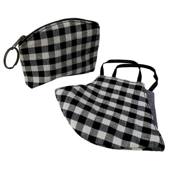 black gingham mask and pouch set