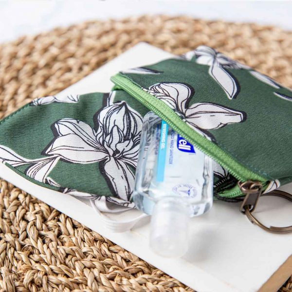 green floral pouch and mask