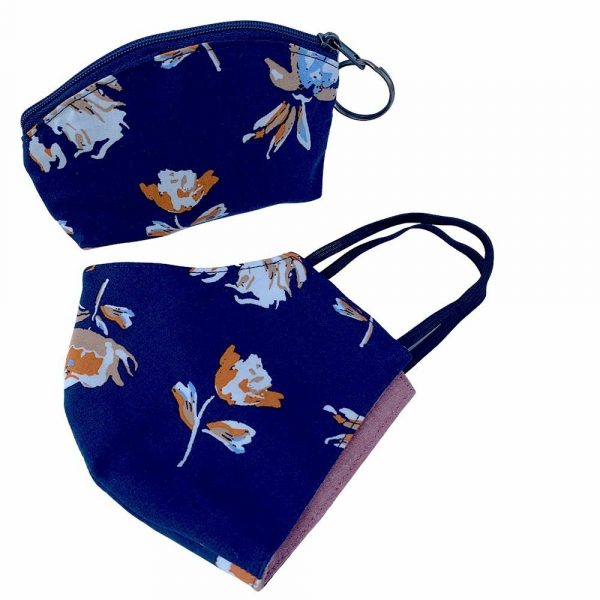 pouch and face mask navy fall floral