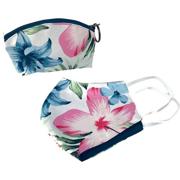 pouch and face mask pink tropical