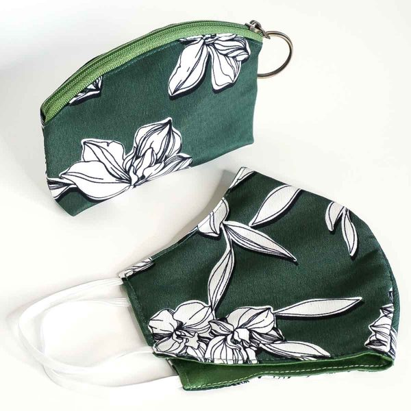 green floral mask and pouch