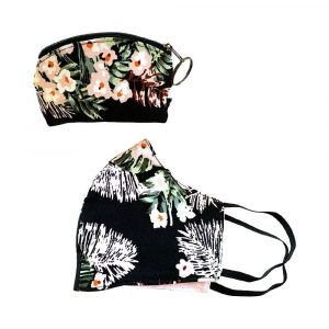 black tropical mask and pouch