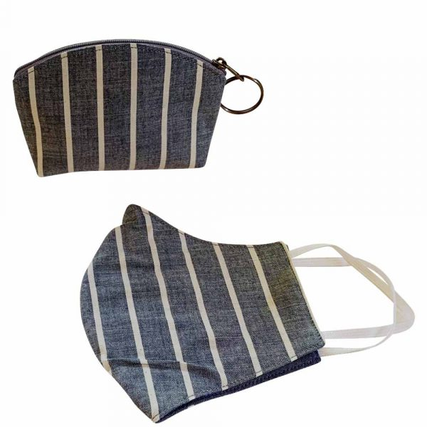 denim striped mask and pouch