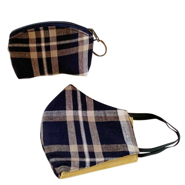 navy plaid face mask and pocu