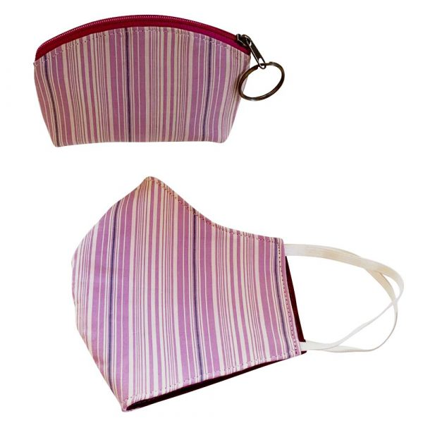 purple striped face mask and pouch