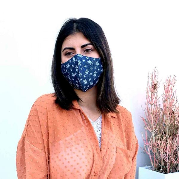 denim floral face mask