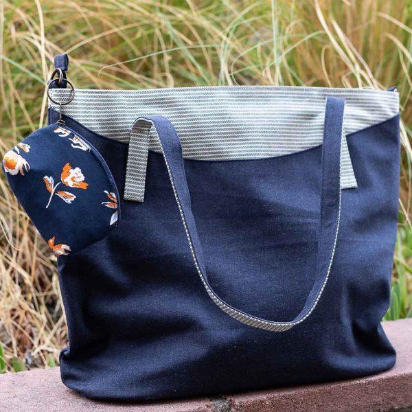 big blue denim bag