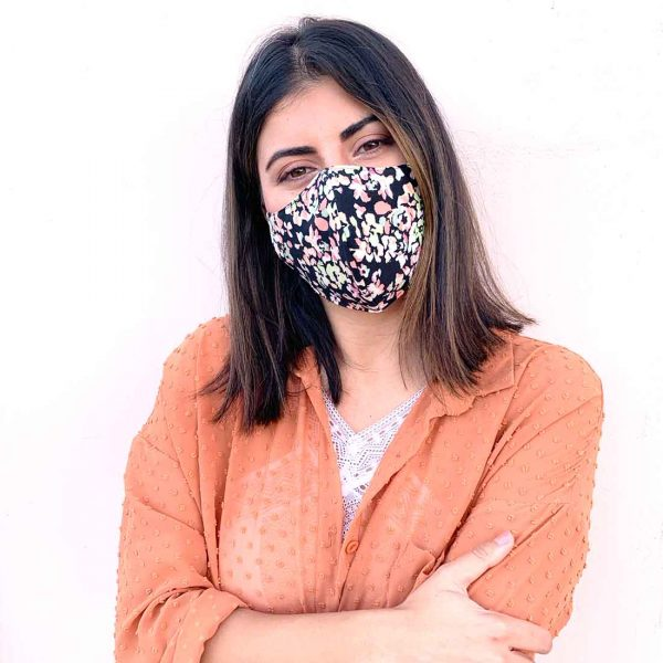 black cute floral mask