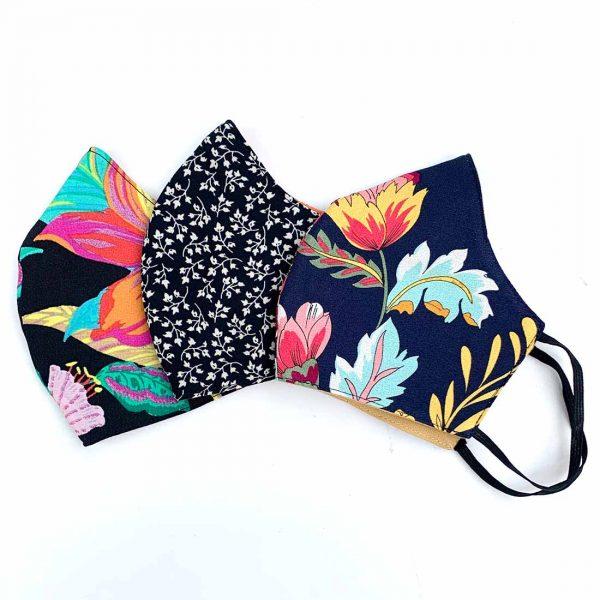 bright floral face masks