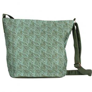 turquoise leaf print purse