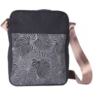 black and grey cotton crossbody bag