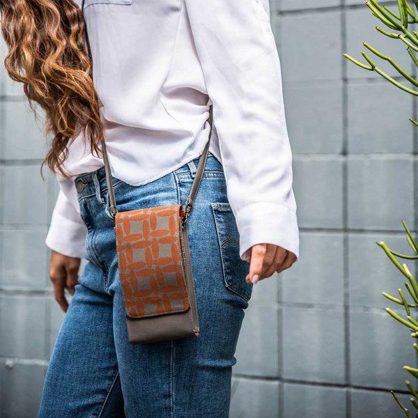 burnt orange phone case purse