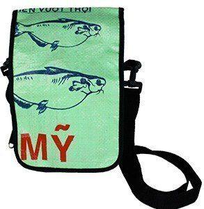 recycled light green messenger bag