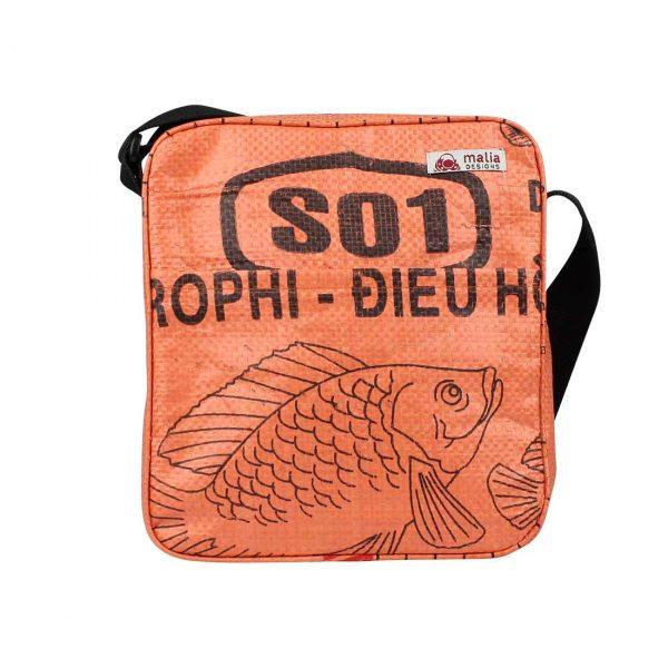 orange recycled crossbody bag