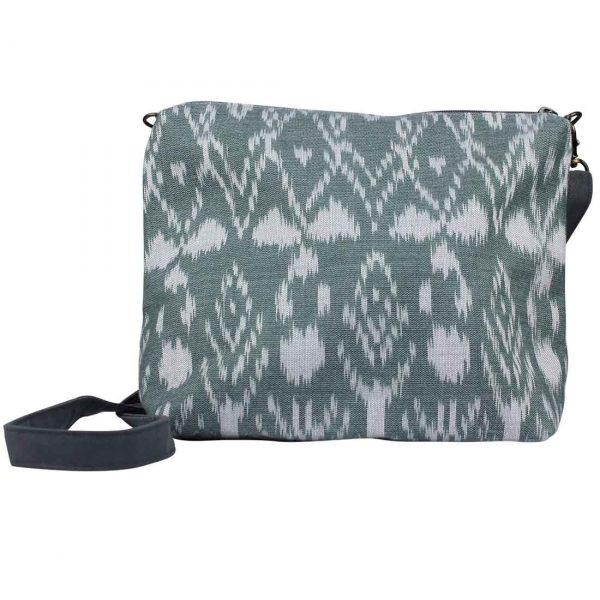 small green ikat crossbody bag