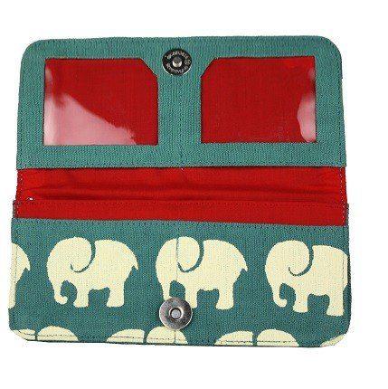 Interior Cotton Long Wallet Teal Elephant Prints