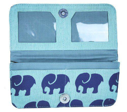 Interior of seafoam elephant wallet