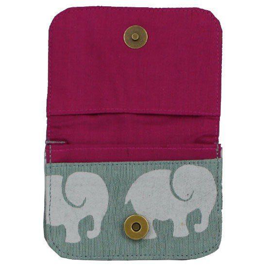 fuschia interior of grey elephant wallet