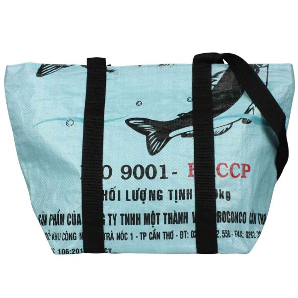 light blue recycled beach tote